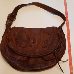 Lucky Brand Embroidered Leather Stash bag purse